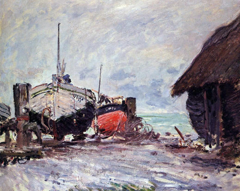 Claude Oscar Monet Fishing Boats at Etretat - Hand Painted Oil Painting