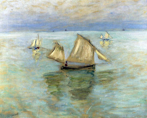 Claude Oscar Monet Fishing Boats at Pourville - Hand Painted Oil Painting