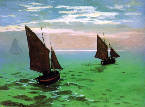 Claude Oscar Monet Fishing Boats at Sea - Hand Painted Oil Painting