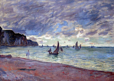 Claude Oscar Monet Fishing Boats by the Beach and the Cliffs of Pourville - Hand Painted Oil Painting