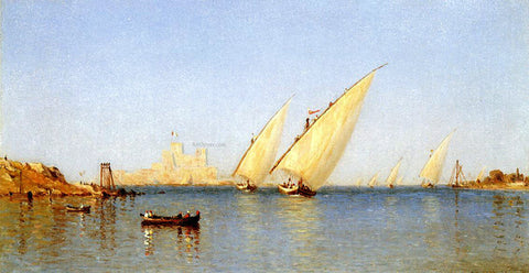 Sanford Robinson Gifford Fishing Boats Coming into Brindisi Harbor - Hand Painted Oil Painting
