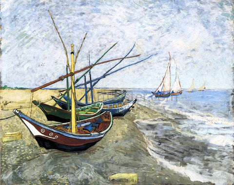 Vincent Van Gogh A Fishing Boat on the Beach at Les Saintes-Maries-de-la-Mer - Hand Painted Oil Painting