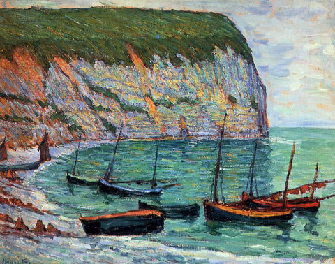 Maxime Maufra Fishing Boats on the Shore - Hand Painted Oil Painting