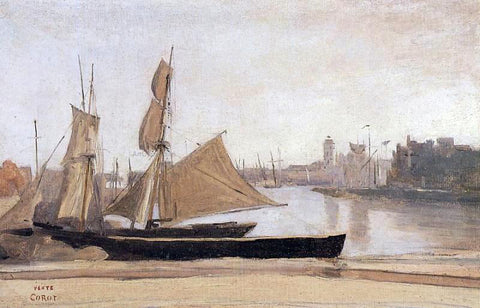 Jean-Baptiste-Camille Corot Fishing Boats Tied to the Wharf - Hand Painted Oil Painting