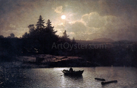 Sophus Jacobsen Fishing by Moonlight - Hand Painted Oil Painting