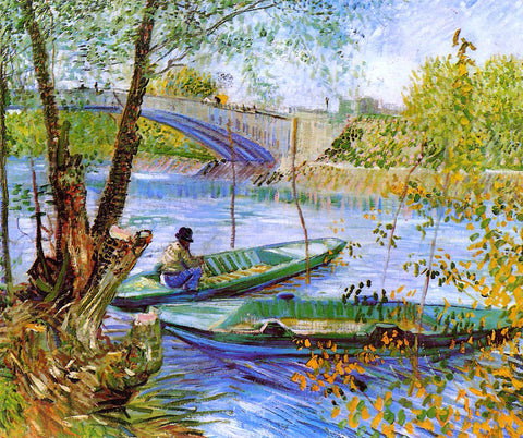 Vincent Van Gogh Fishing in the Spring, Pont de Clichy - Hand Painted Oil Painting