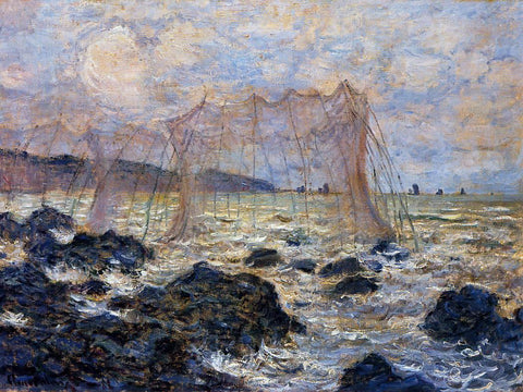 Claude Oscar Monet Fishing Nets at Pourville - Hand Painted Oil Painting