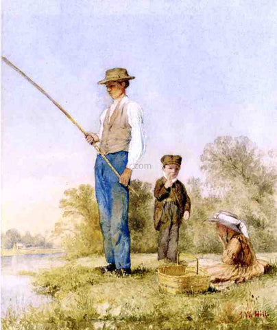 John William Hill Fishing on a Lake - Hand Painted Oil Painting