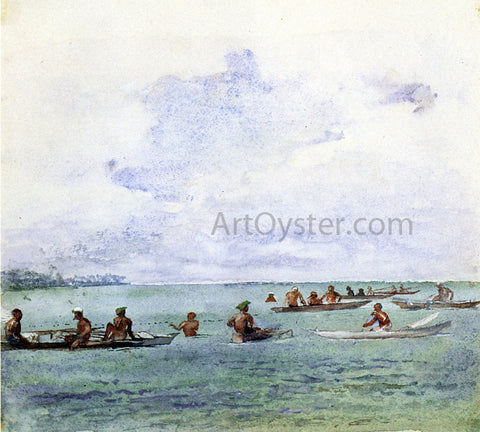 John La Farge Fishing Party in Canoes, Samoa - Hand Painted Oil Painting