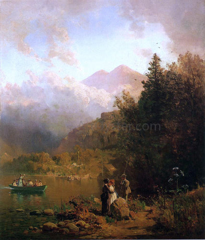 Thomas Hill Fishing Party in the Mountains - Hand Painted Oil Painting