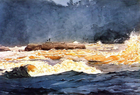 Winslow Homer Fishing the Rapids, Saguenay - Hand Painted Oil Painting