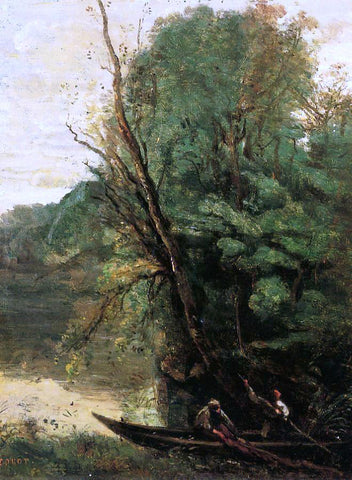 Jean-Baptiste-Camille Corot Fishing with Nets, Evening - Hand Painted Oil Painting