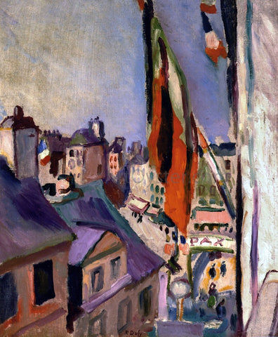 Pierre Auguste Renoir Flag Decorated Street - Hand Painted Oil Painting