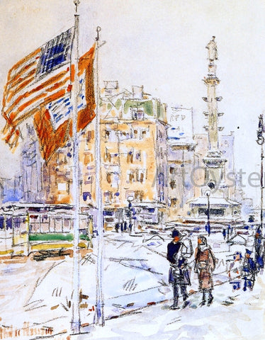 Frederick Childe Hassam Flags, Columbus Circle - Hand Painted Oil Painting