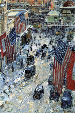 Frederick Childe Hassam Flags on Fifty-Seventh Street - Hand Painted Oil Painting