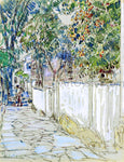 Frederick Childe Hassam Flagstone Sidewalk, Portsmouth, New Hampshire - Hand Painted Oil Painting