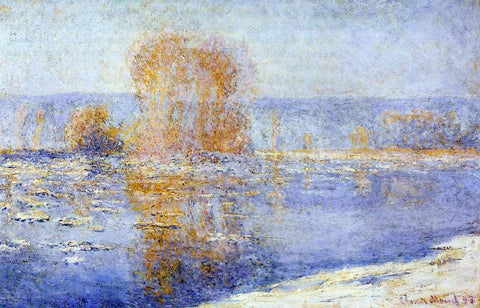 Claude Oscar Monet Floating Ice at Bennecourt - Hand Painted Oil Painting