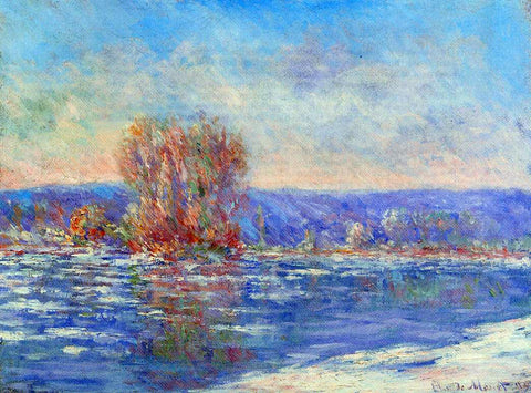 Claude Oscar Monet Floating Ice near Bennecourt - Hand Painted Oil Painting