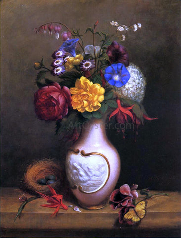 Arnoud Wydeveld Floral Arrangement with Birds Nest - Hand Painted Oil Painting