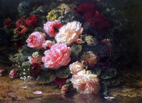 Jean Baptiste Robie Floral Still Life - Hand Painted Oil Painting