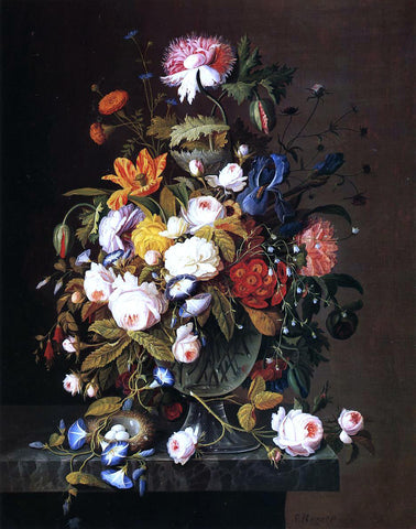 Severin Roesen Floral Still Life with Bird's Nest - Hand Painted Oil Painting