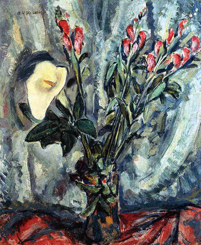 Alfred Henry Maurer Floral Still Life with Calla Lily - Hand Painted Oil Painting