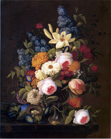 Severin Roesen Floral Still Life with Nest of Eggs - Hand Painted Oil Painting