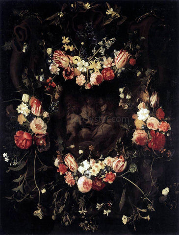 Daniel Seghers Floral Wreath with Relief after Quellinus - Hand Painted Oil Painting