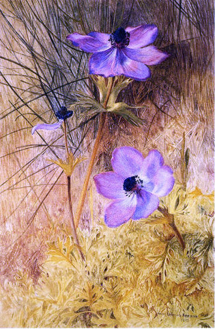 Henry Roderick Newman Florentine Wild Anemones - Hand Painted Oil Painting