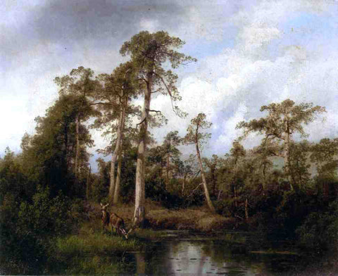 Herman Herzog Florida Live Oaks with Deer - Hand Painted Oil Painting