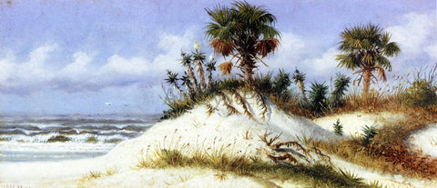 William Aiken Walker Florida Sand Dunes with Two Palm Trees - Hand Painted Oil Painting