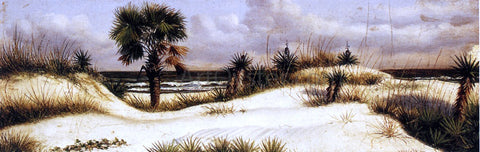 William Aiken Walker Florida Seascape with Sand Dune, Palm Tree, and Yuccas - Hand Painted Oil Painting
