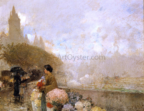Frederick Childe Hassam Flower Girl by the Seine, Paris - Hand Painted Oil Painting