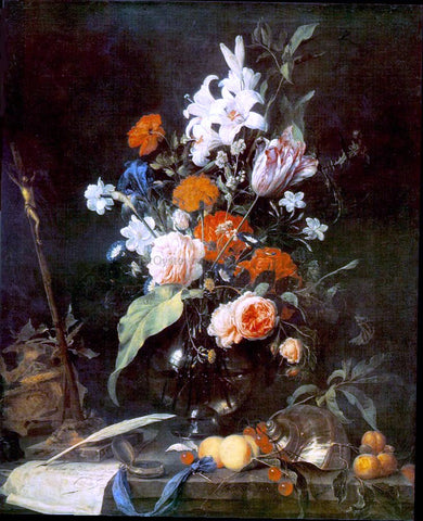 Jan Davidsz De Heem Flower Still-life with Crucifix and Skull - Hand Painted Oil Painting