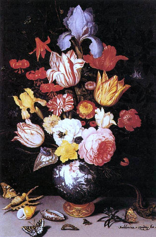 Balthasar Van der Ast Flower Still-Life with Shell and Insects - Hand Painted Oil Painting