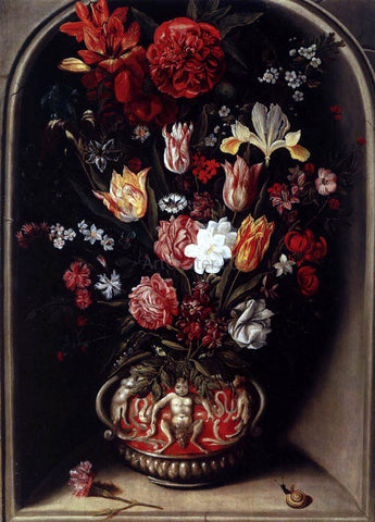 Jacob Woutersz Vosmaer Flower Vase in a Niche - Hand Painted Oil Painting