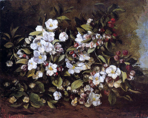 Gustave Courbet Flowering Apple Tree Branch - Hand Painted Oil Painting