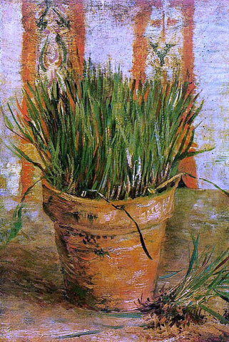 Vincent Van Gogh Flowerpot with Chives - Hand Painted Oil Painting