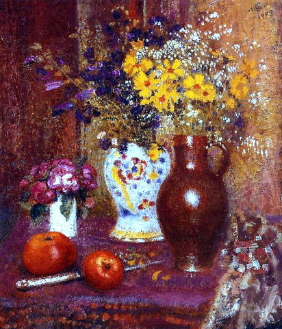Georges Lemmen Flowers and Apples - Hand Painted Oil Painting