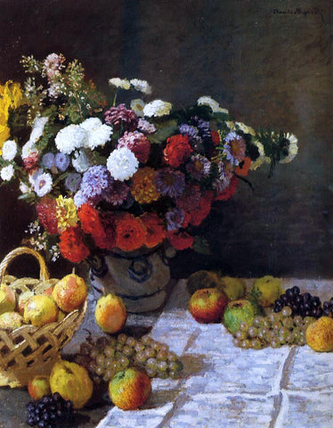 Claude Oscar Monet Flowers and Fruit - Hand Painted Oil Painting