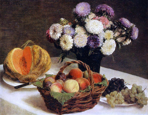 Henri Fantin-Latour Flowers and Fruit, a Melon - Hand Painted Oil Painting