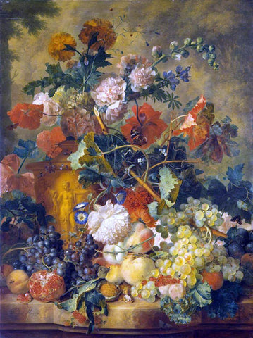 Jan Van Huysum Flowers and Fruit - Hand Painted Oil Painting
