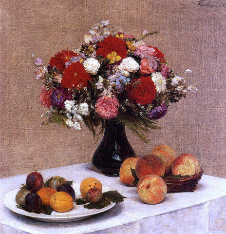 Henri Fantin-Latour Flowers and Fruit - Hand Painted Oil Painting