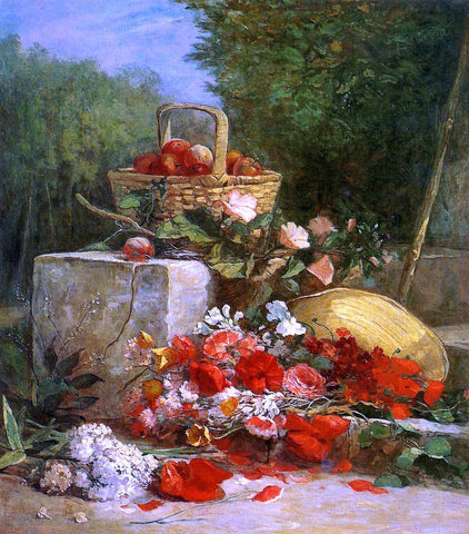 Eugene-Louis Boudin Flowers and Fruit in a Garden - Hand Painted Oil Painting