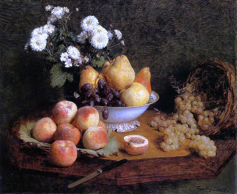 Henri Fantin-Latour Flowers and Fruit on a Table - Hand Painted Oil Painting