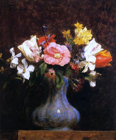 Henri Fantin-Latour Flowers: Camelias and Tulips - Hand Painted Oil Painting