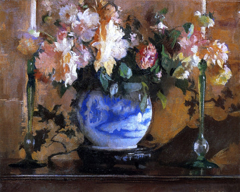 Edmund Tarbell Flowers in a Blue Ginger Jar - Hand Painted Oil Painting