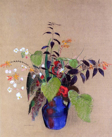 Odilon Redon Flowers in a Blue Jug - Hand Painted Oil Painting