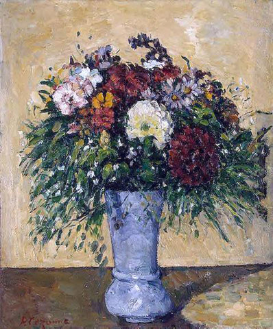 Paul Cezanne Flowers in a Blue Vase - Hand Painted Oil Painting