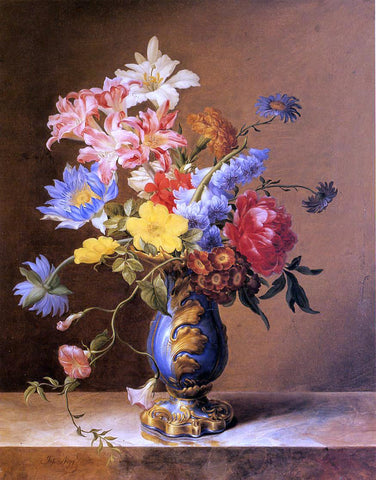 Josef Nigg Flowers in a Blue Vase - Hand Painted Oil Painting
